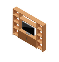 isometric tv shelf vector image