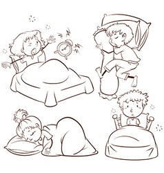 Kids sleeping and waking up vector image vector image