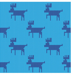 knitted christmas reindeer pattern blue background vector image