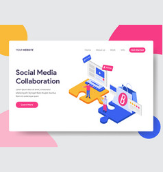 landing page template social media collaboration vector image