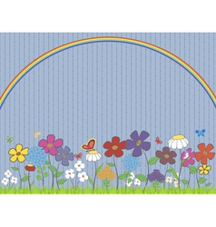 lawn with flowers and butterflies under rainbow vector image