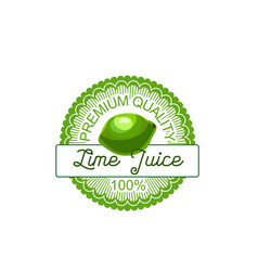 lime fruit label of natural lemon and citrus juice vector image