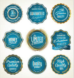 luxury gold and blue premium quality labels vector image