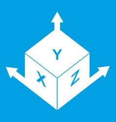 Measurement cube square icon white vector
