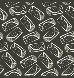 Monochrome outline burrito pattern vector