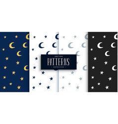 Moon and stars cute pattern set design vector