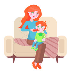 mother is feeding her bawith bottle mom gives vector image