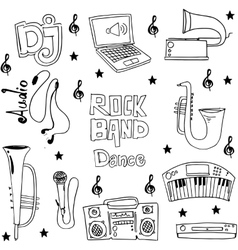 Music object doodles on white backgrounds vector image