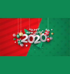 new year 2020 card 3d holiday paper icons vector image