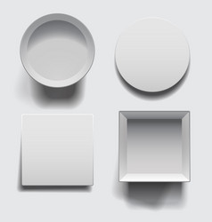 open boxes with lids set vector image