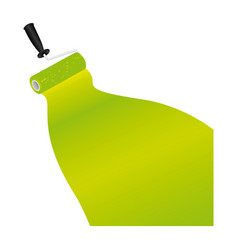 paint roller with stroke of paint green vector image