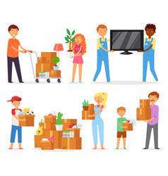 people moving family with kids packing vector image