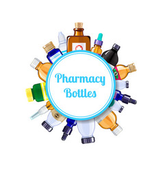 Pharmacy medicine bottles under circle with vector