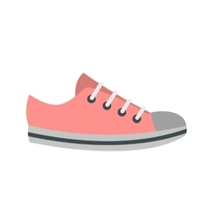 Pink sneakers icon flat style vector image