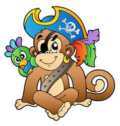 Pirate monkey with parrot vector