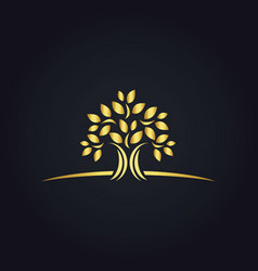 Plant gold tree ecology logo vector
