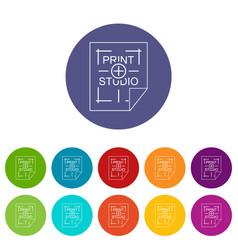 print studio icons set color vector image