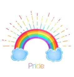 rainbow with rays symbol lgbt community gay vector image