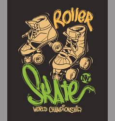 roller skates on a grunge background t-shirt print vector image