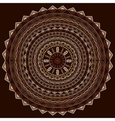 Round ethnic ornament in cappuccino tones vector image
