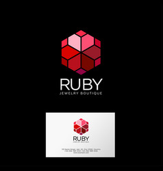 Ruby logo crystals premium jewelry emblem vector
