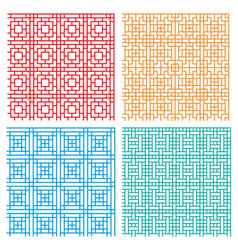 Seamless geometric line pattern in asian style vector