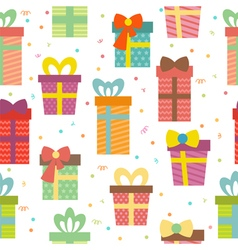 Seamless pattern with gift boxes Birthday presents vector