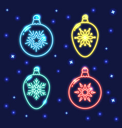 set neon christmas bauble line icons vector image