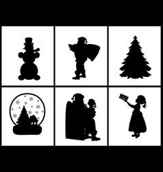 set silhouettes child santa snowman christmas tree vector image