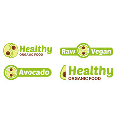 Set vegan logo with avocado vector