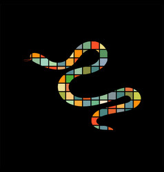 snake reptile color silhouette animal vector image