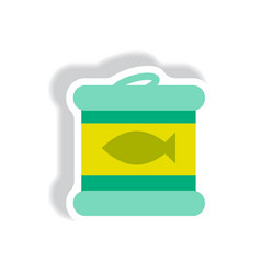 Stylish icon paper sticker style canned tuna fish vector