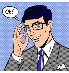 Successful businessman saying okay in vintage pop vector image