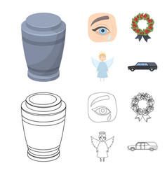 The urn with the ashes of the deceased the tears vector