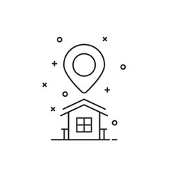 thin line home location logo with pin marker vector image