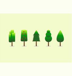 tree set on green background vector image
