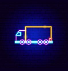 Truck trailer neon sign vector