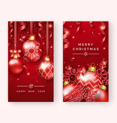 two christmas poster templates with shining balls vector image