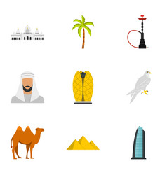 united arab emirates elements icons set flat style vector image