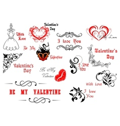 Valentines Day calligraphic and decorative vector