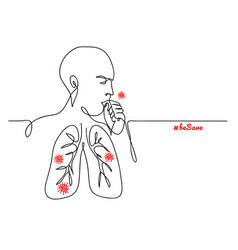 virus in lungs person coughing simple minimalist vector image