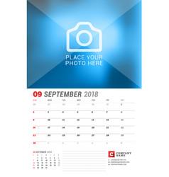 Wall calendar planner for 2018 year september vector