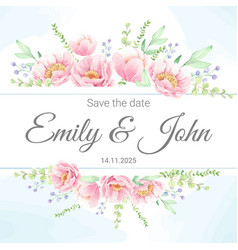 watercolor pink peony flower bouquet wreath with vector image
