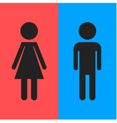 Wc toilet flat icon men and women sign vector