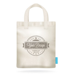 White canvas mockup realistic shopping bag vector