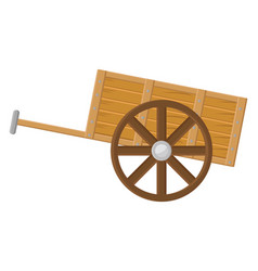 Wooden cart on white background vector