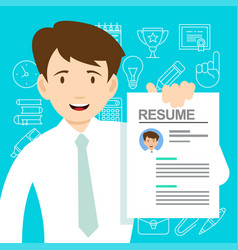 Young man with a resume for hiring vector