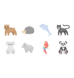an unrealistic animal icons in set collection for vector image vector image