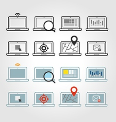 Different laptop icons set with rounded corners vector image