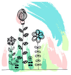 Doodle flowers on a colourful background vector